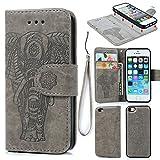 iPhone SE/5/5S Case, Wallet Case PU Leather Flip Case 2 in
