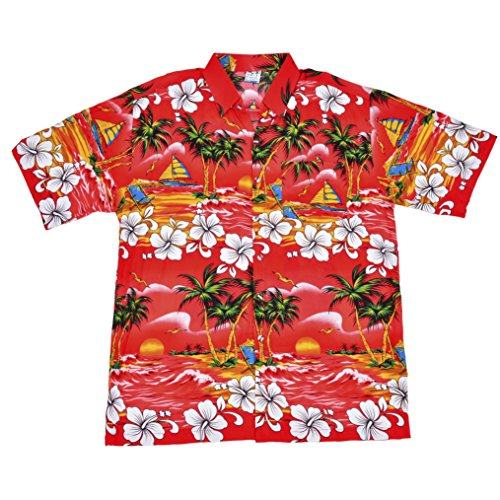 BFD-Camisa-Casual-Button-Down-Floral-Clsico-Para-Hombre-Rojo-Red-Tree-Shirt-XXX-Large