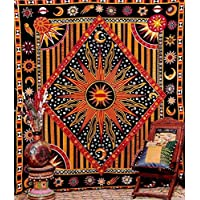 Indian sun moon Diamond wall hanging hippy tribal tapestry wall throw by Craftozone (Double (220x210cms))