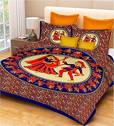 Ealth Kart 144 TC 100% Cotton Rajasthani Jaipuri Double Bedsheet with 2 Pillow Covers - Blue