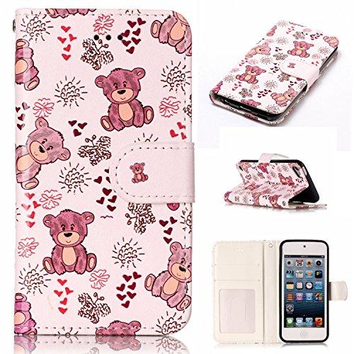 Nancen Wallet Case Tasche Hülle für Apple iPod Touch 5 / Touch 6 (4 Zoll) Flip Schutzhülle Zubehör Lederhülle mit Silikon Back Cover PU Leder Handytasche im Bookstyle Stand Funktion