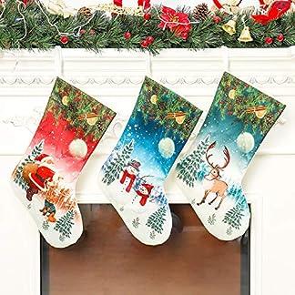 CAR Pack De 3 Calcetines Navideños, Calcetines Navideños De 18″con Adornos Navideños De Renos De Muñeco De Nieve De Santa para La Decoración De La Chimenea De La Fiesta De Navidad