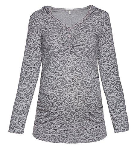 Be! Mama Umstandsshirt, Stillshirt mit Kapuze, FARBAUSWAHL, Modell: IMAN, lang- oder kurzärmlig! Grau mit Muster/langarm