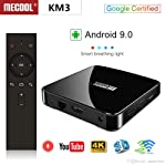 MECOOL KM3 Google Certified Android 9.0 Pie ATV Android TV Box Amlogic S905X2 4GB/64GB Dual WiFi 2T2R Bluetooth 4.0 Voice...