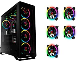 [Pack Ahorro de TALIUS]: Caja ATX Gaming Leviathan con Cristal Templado + 9 Ventiladores LED Spectrum Doble aro RGB12cm