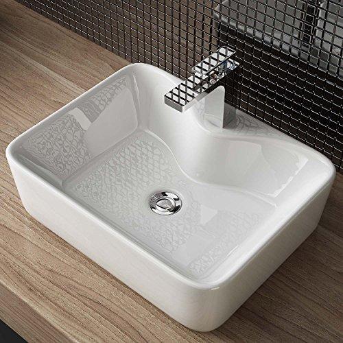 Waschbecken24 BxTxH 48,30x37,50x13 CM DESIGN KERAMIK AUFSATZ WASCHBECKEN WASCHTISCH HANDWASCHBECKEN BAD GÄSTE WC TOP A98