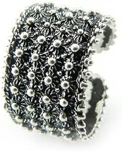 Fede sarda anello Sardegna argento brunito tipo filigrana a pallini MISURA REGOLABILE