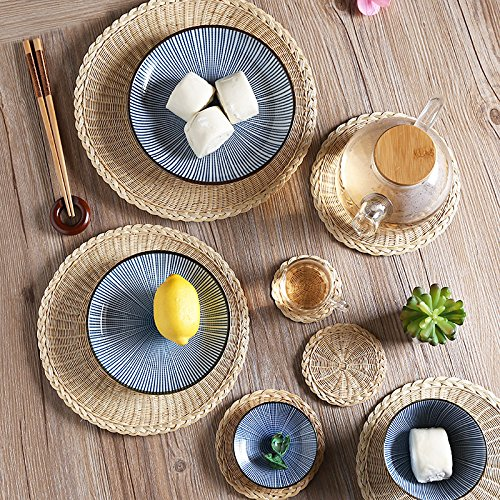 XBRl'isolation thermique tampon circulaire _ grass round - isolation thermique tampon huit à plat pour une table de cuisine.,les couleurs primaires,18cm
