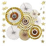 awtlife oro papel ventilador flor colgante pancarta para fiestas decoración