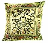 ganesham Handwerk–Indian Ethnic Room Deko-Seide Sofa kissenrollen Silk Home Decor
