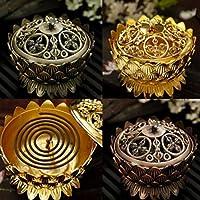 ELECTROPRIME Bronze Lotus Incense Burner Flower Statue Censer for Stick & Cone Incense S