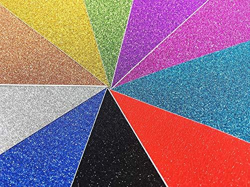 10 pz Carta Glitter Adesiva Carte Colorate Adesive Fogli Colorati Adesivi A4 Carta Glitter Adesivi per Lavoretti Cartoncini Glitter Adesivi A4 Carta Glitterata