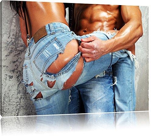 Sexy Pärchen Jeans Format: 120x80 cm auf Leinwand, XXL riesige Bilder fertig gerahmt mit Keilrahmen, Kunstdruck auf Wandbild mit Rahmen, günstiger als Gemälde oder Ölbild, kein Poster oder Plakat