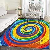 VORMOR Regenbogen-Teppich mit lebendigen Wirbeln, Regenbogenfarben, Handgezeichnetes Kunstwerk, optische Illusionen, Grunge Indoor/Outdoor, Teppich, Mehrfarbig, Color01, 4'x6'(W 120cm x L 180cm)