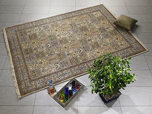 ROSHAN GHOM echter klassischer Orient-Felder-Teppich handgeknüpft in creme-creme, Größe: 60x90 cm