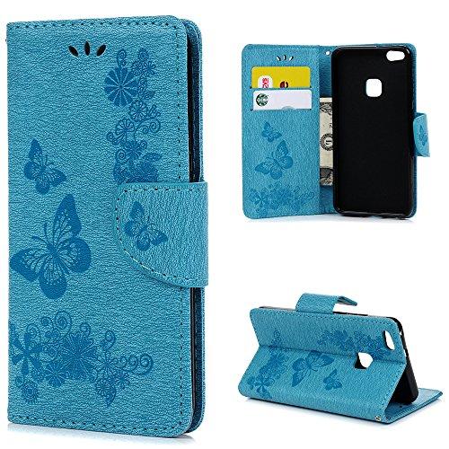 YOKIRIN Huawei P10 Lite Hülle Case Großer Schmetterling Wallet Tasche Hülle PU Leder Flipcase Handyhülle Folio Schutzhülle Handytasche Handyschale Stand Kartenfächer Magnetverschluss Blau