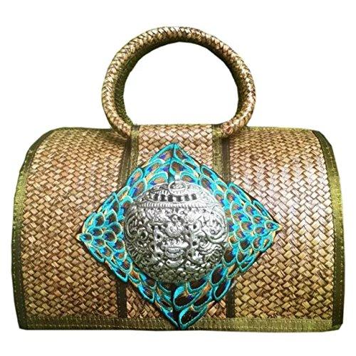 handgemachter stickerei stricken / weben bambus rattan stroh handtasche / umhängetasche (Stroh Tote Natürlichen)