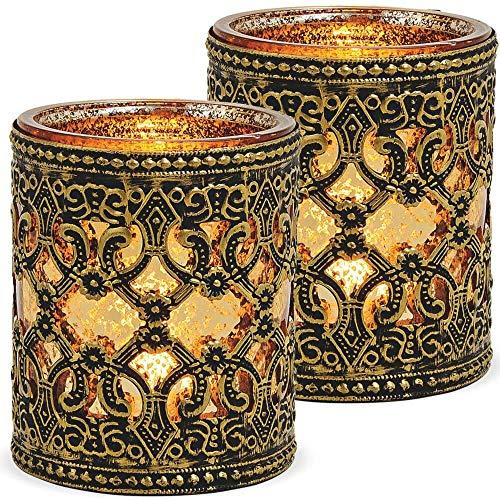 matches21 Windlichter Kerzengläser Teelichtgläser Orientalisch Marokko Design Gold antik Metalldekor 2er Set Ø 8x10 cm