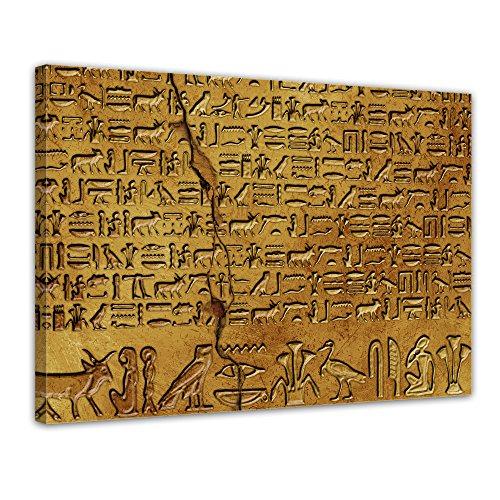 Kunstdruck - Hieroglyphen - Bild auf Leinwand - 40x30 cm einteilig - Leinwandbilder - Städte & Kulturen - Ägypten - alte Schriftkultur