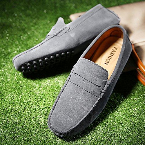 Jamron Hommes Minimalisme en Passant Conduite Chaussures Suède Flâneurs 2088 Gris