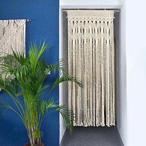 D&L Makramee Gewebt Wandbehang, Boho-inspiriert Handmade Tapisserie Berühren Fenster Vorhang Home Geometrische Kunst Dekor-Beige W70xH180cm -