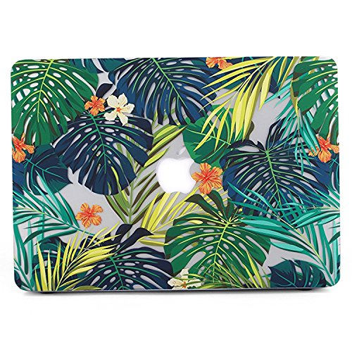 Coque MacBook Pro 13 2017 Et 2016, L2W Matte Print Tropical Palm Leaves  Pattern Coque Pour Macbook Pro 13 Pouces Avec / Sans Touch Bar Et Touch ID  Shell ...
