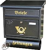NEU Briefkasten, groß XXL, Premium-Qualität, verzinkt, pulverbeschichtet FG/a XXL anthrazit schwarz gold mit Zeitungsrolle fertig montiert Postkasten Post