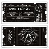 60 x Geburtstag Einladungen Einladungskarten Eintrittskarten - Schwarz-Weiß Ticket schwarze Version