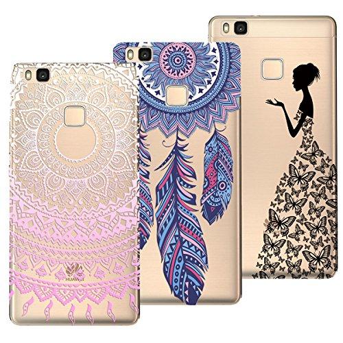 Yokata Kompatibel mit Huawei P9 Lite Hülle Silikon Transparent Durchsichtig Handyhülle Schutzhülle TPU Ultra Dünn Slim Kratzfest mit Motiv Muster [3 Pack] - Mandala + Feder + Mädchen Schmetterling