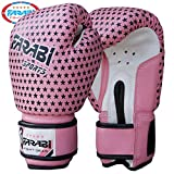 Kids boxing sparring gloves, junior mma muay thai kickboxing gloves punching bag training mitts 4Oz by Farabi (Pink stars)