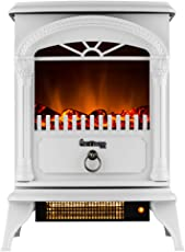 e-Flame USA Hamilton Free Standing Electric Fireplace Stove with 1500W Maximum Efficiency, 400 Square Feet Coverage, 22 Inch, White by e-Flame USA