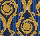 Carta da parati Barocco and Stripes - blu cobalto - Celeste - colore oro - fine strutturata., VERSACE Home