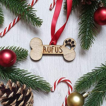 Personalised Dog Bone Memorial ANY MESSAGE Christmas Tree Decoration Bauble Pet