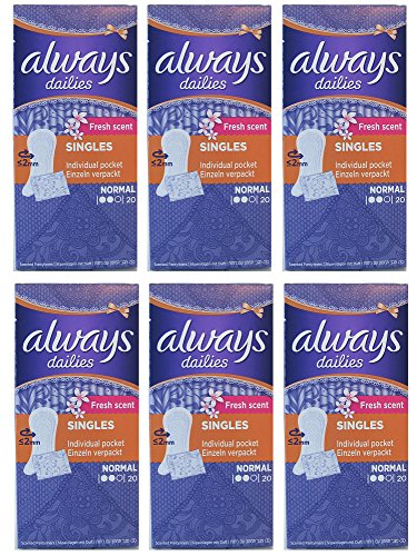 Immer frische Duft Singles Dailies Normal Slipeinlagen, 20 Count (Pack von 6 Boxen) -