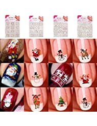 ILOVEDIY 10Stück 3D Nagel Sticker Blumen Nail Art Sticker Decals