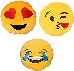 Nitsha Emoji Heart Eye Big Tears Flying kiss Smile Pillow Pack-3