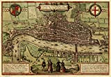 Old Map of London in 1572, plan by Georg Braun - Reprint