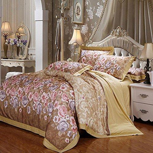 BEIZI Vintage Blume bettwäsche Satin Jacquard Duvet Set Ebene Gefärbt Baumwolle Doppelbettbezug Set 4 stücke königin könig größe, B - Baumwoll-jacquard-könig-duvet