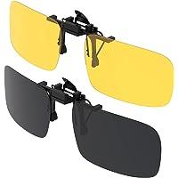 Clip su Occhiali da Sole, Gritin 2 Pezzi Day + Night Vision Occhiali da Sole Lenti Polarizzate da uomo/donna UV400 flip…