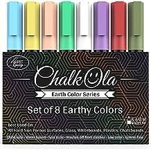 Chalk Pens - Pack of 8 Earth colour markers - Use on Whiteboard, Chalkboard, Window, Blackboard, Bistros Glass - 6 mm Bullet Tip