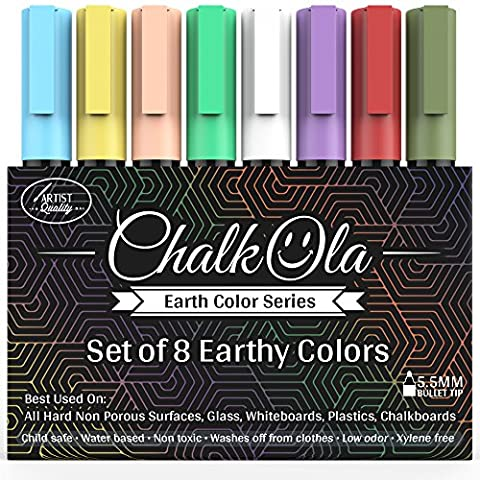 Chalk Pens - Pack of 8 Earth colour markers -