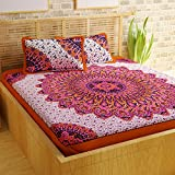 Story@Home Pearl Rajasthani Jaipuri Collection 100% Cotton Double Bedsheet With 2 Pillow Covers, 120 TC  - Traditional and Paisley Pattern (Pink)