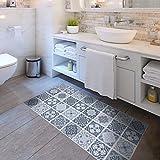 Frolahouse Blau und Grau Anti-Rutsch-Matte Aufkleber Wasserdicht Abnehmbare Boden Aufkleber Dünne PVC Boden Dekor Aufkleber für Küche Bad Dusche Tür Matte 60CMx120CM