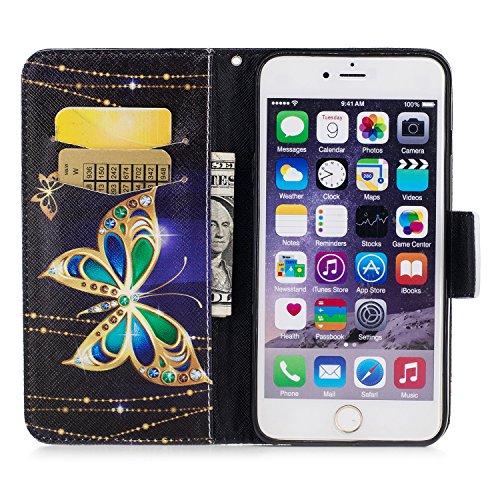 iPhone 6 / 6S Plus (5.5 pouce) Coque , PU Cuir Étui Protection Wallet Housse la Haute Qualité Pochette Anti-rayures Couverture Bumper Magnétique Antichoc Case Anfire Cover pour iPhone 6 Plus - Panda Noir et Papillon