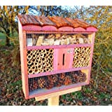 XXL Insect Hotel with Wood Bark Natural Roof, Light Red Pink OS (Rose Red A Beneficial in Garden Ladybug Addition to Tit Nest Box Box or for Birdhouse Bird Feeding Station Bird Feeder Insect House-Insect Hotel Insect Hotel for Organic Natural Aphid Butterfly, Ladybird Ladybug Ladybird Box House House Butterfly Garden Decoration
