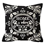 ymot101 Animal Lover Gift European Floral Pattern Warm Sweet Quote Words Home Is Where Dog Is Linen Throw Pillow Case Cushion Cover Pillowcase For Sofa Home Decorative Square 18X18 Inches