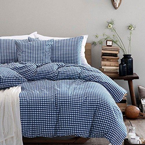 Beauty Decor Minimalistischen Stil Bettbezug Set Aqua Blau Grid Betten Sets Leicht Mikrofaser Tröster Bezug mit kissenrollen King Size Blue Grid -