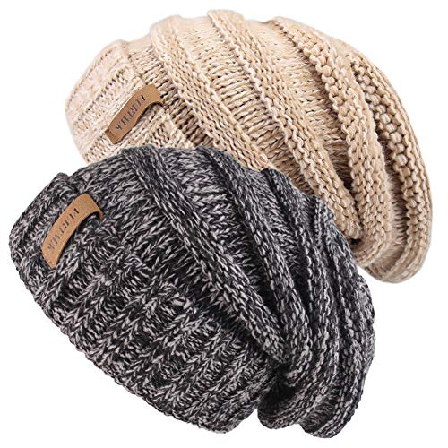 FURTALK Damen Gestrickter Winter Slouchy Strickmütze Maxi-Crochet Cable Ski Cap Baggy Schlapphut Einheitsgröße Mix Schwarz/Mix Khaki -