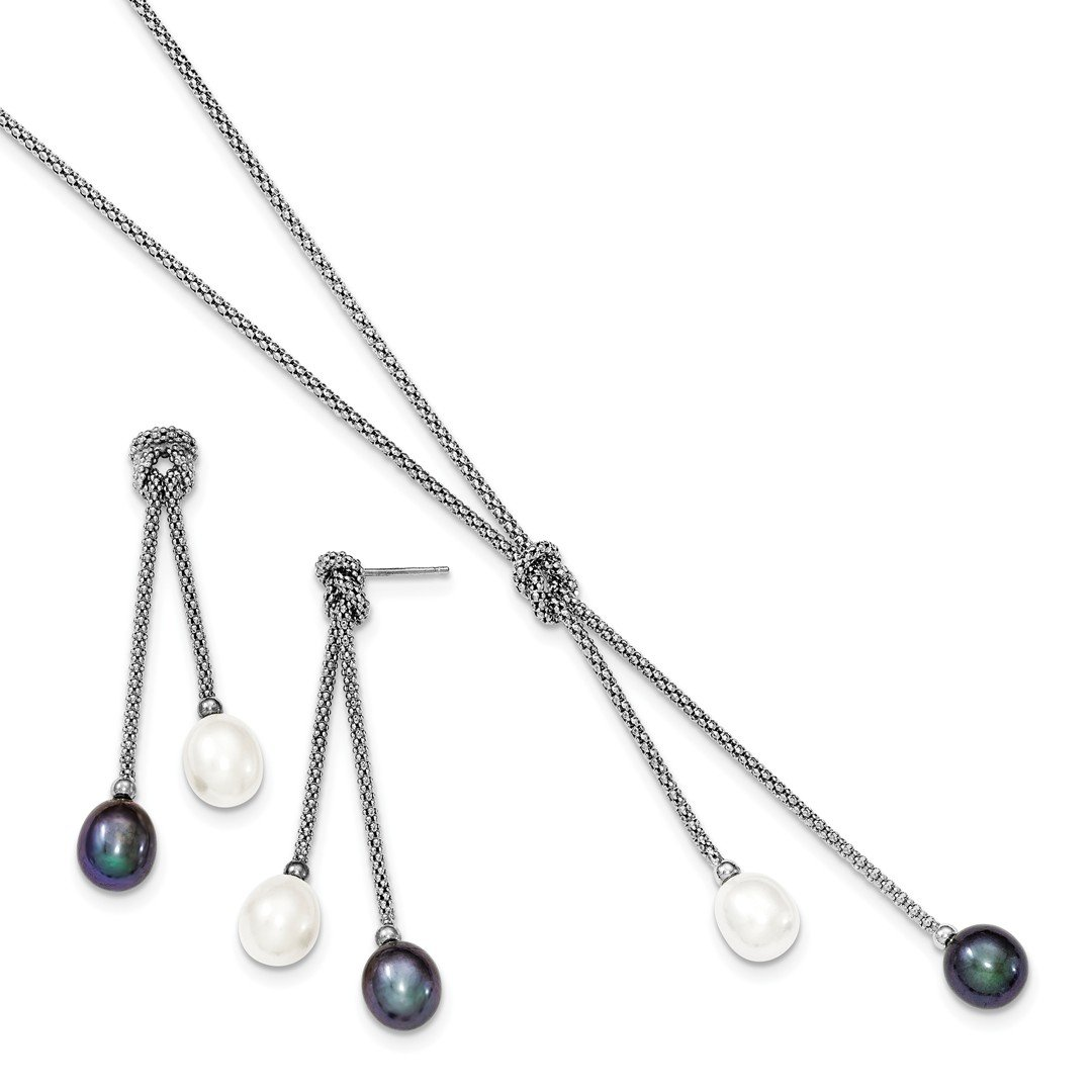 925 Sterling Silver Freshwater Cultured Pearl Knot 18 In. Neck Post Stud Earrings Set Drop Dangle Necklace Fine Jewellery Gifts For Women For Her