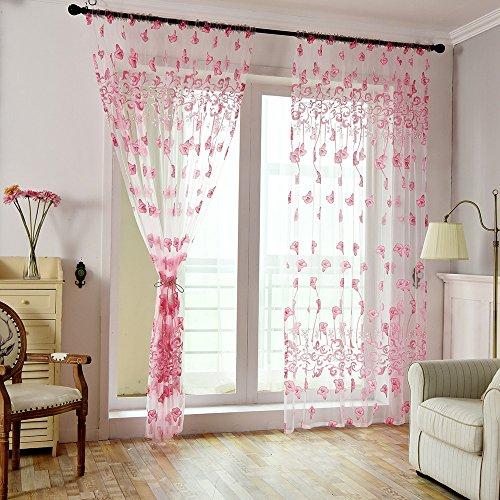 Gaddrt® 1pannello finestra tenda leaves sheer tenda voile tulle finestra trattamento tessuto drappo mantovana rosa